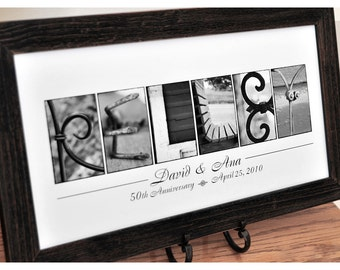 Personalized Anniversary Gift, Name Print in Alpahabet  Photography UNFRAMED, personalized last name sign