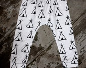 Toddler infant baby Harem Pants , organic cotton, TEEPEE Design, baby leggings geometric fox 6 sales boys girls unisex photography prop