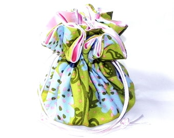 Drawstring Jewelry Bag Pouch - Jewelry organizer - Pink, blue and pink floral travel bag