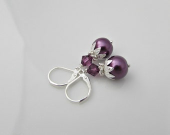 Purple Pearl Earrings, Bridesmaid Gifts, Gifts for Bridesmaids, Pearl Earrings, UK Seller, Bridesmaid Earrings, Purple Earrings