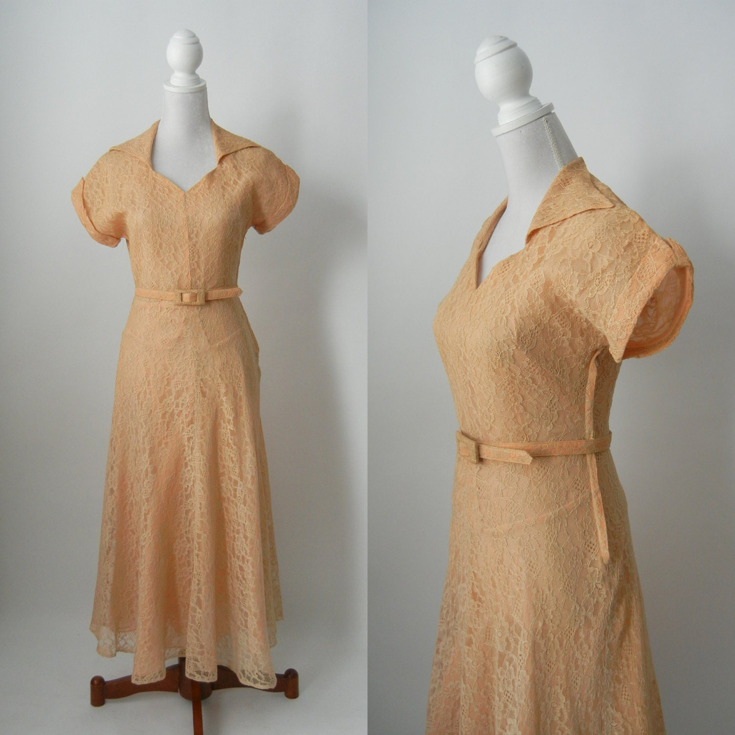 Vintage 1940s light brown lace belted dress wedding dress for Brown lace wedding dress