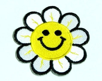 Smile Flower Embroidered Patch Size 6.2 cm