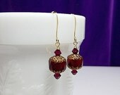 25% Off SALE thru Sun Cranberry Ruby Red Crystal Drop Gold Earrings, Christmas Mom Sister Grandmother Girlfriend Bridesmaid Jewelry Gift, Si