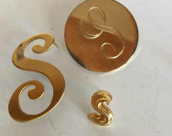 Initial Letter S Brooch Collection Vintage lot 1062