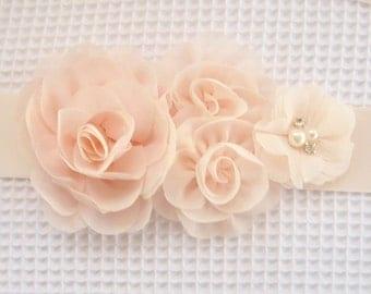 Bridal Sash Blush Sash Bridal Belt Blush Satin Sash Blush Flowers Flower Girl Bridesmaids Wedding Sash