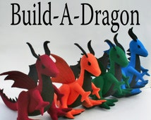 Build-A-Dragon Fantastical Handmade-to-Order Felt Stuffed Dragon, Custom Plush Fantasy Toy, Personalized Kids Gift, Eco Friendly Boys Gift