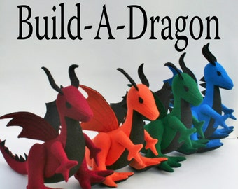 Build-A-Dragon ~ Personalized Plush Dragon, Custom Handmade-to-Order Eco Felt Stuffed Dragon, Fantasy Toy, Boys Gift