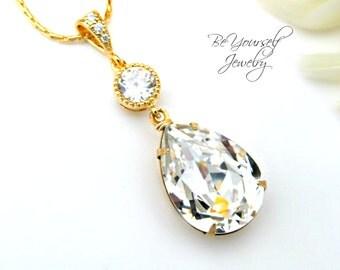 Gold Bridal Necklace White Crystal Teardrop Bride Necklace Swarovski Crystal Wedding Jewelry Bridesmaid Gift Wedding Necklace Bridal Jewelry
