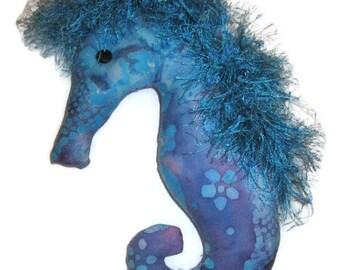 Blue Purple Batik Print Seahorse Decorative Beach Nautical Decor