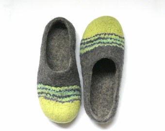 felted slippers Spring Vacation woolen shoes grey slippers