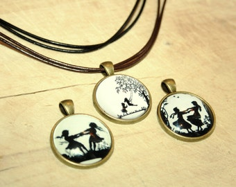 Friendship leather silhouette Necklace bronzecolored - best friends sister mother, big sister little sister
