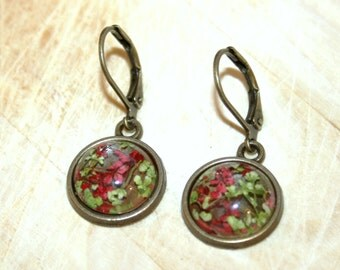 Small Earrings with real red dried flowers -nature flower earrings -beautiful gift sister  daughter best friend