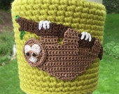 Coffee cozy, cup sleeve, I love sloths, sloth coffee cozy, special order for Mary, light rose sleeve, brown sloth, taupe branch