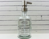 Large Glass Soap Dispenser Apothecary Bottle Soap Dispenser French Lavender Label Bronze Copper Chrome Stainless /Nickel Soap Pump