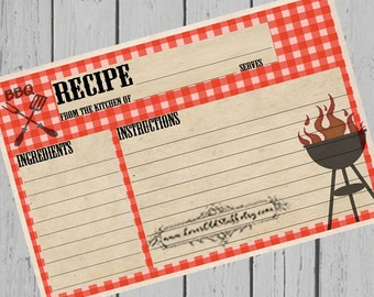 BBQ Printable Recipe Card | 3x5 Blank Recipe Cards | 4x6 Recipe Cards | Hostess Gift
