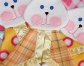 NEW!! Yellow and orange plaid Fisher Price replica FooFoo Bunny