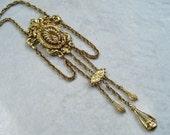 Vintage Signed ART Necklace Victorian Revival Lavalier Charm Dangles