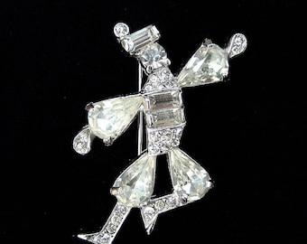 Vintage Signed Kramer Rhinestone Brooch Crystal Cossack Dancer