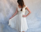 1950s ivory chiffon cocktail party dress- 50s iridescent sequin wedding dress - small