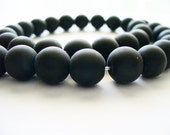 Black Stone Frosted Beads Round 10mm