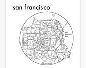 San Francisco Map 8x8 Letterpress Beautiful Minimalist Simple Graphic Neighborhood Art Print. Cool Travel Poster Design.