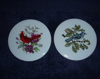 "2 Vintage Pilkington Ceramic Tiles-Bluejay & Cardinal-England-3 1/2"" Diameter"