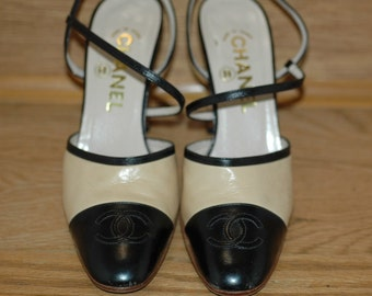 Vintage Authentic Chanel Shoes, Beige and Black Chanel Leather Slingback Pumps, Gift for her, Leather shoes, Birthday gift