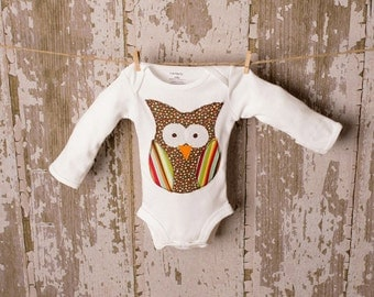 Adorable Owl shirt orBodysuit  size 3 month to 6T short or long sleeves