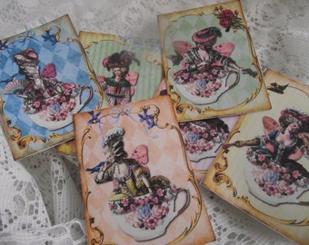 Marie Antoinette Stickers Cards  Shabby Chic For Packages Bottles Boxes Journals Party Bagss