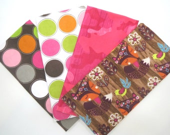 Fox in the Woods, Pink Camo and Matching Print Large Dot Flannel Fabric Fat Quarter Four Pack Bundle