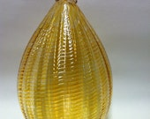 Hand Blown Glass Ornament, Holiday Decor, Christmas Glass Ball Suncatcher, Sea Glass Light Gold