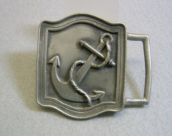 Pewter Navy Anchor Belt Buckle, B.H.S.. Vintage