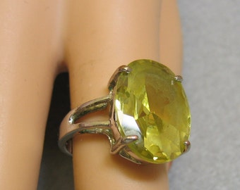 Big Prasiolite 10KT GF Ring Size 6.25