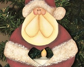 Santa Claus ornament, wooden Santa, Santa ornament, hand painted, Christmas ornament, Christmas decor, Santa collector, tealight candle