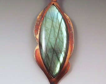Labradorite Marquise- Rainbow Patina- Curvy Abstact- One of a Kind- Metal Art Necklace
