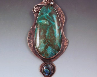 Turquoise and Abalone- Copper Pendant - Unique Turquoise Coloring- Metal Art- RedPaw Statement Necklace