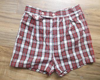 Red Plaid Swim Trunks Shorts Vintage Swim Suit Mens Pennys 1950s