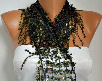 Sequin Floral Scarf - Women Shawl Scarf - Bellydance - Cowl Scarf Lace Scarf Women Fashion Accessories