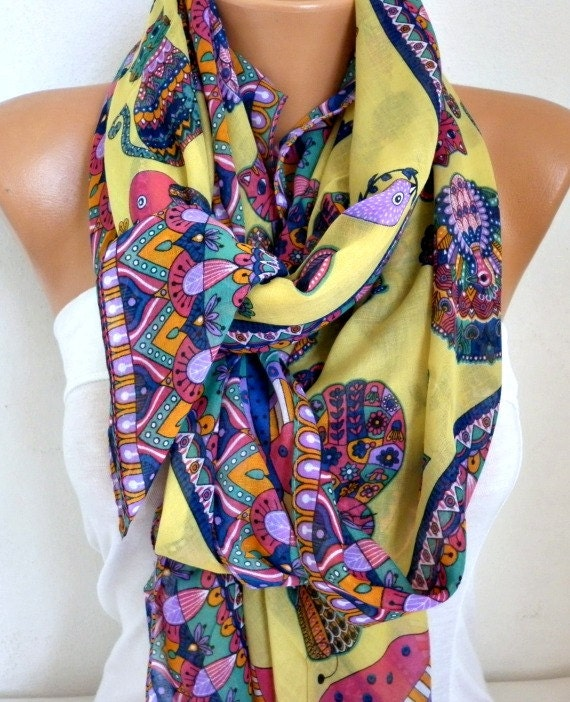 Yellow Owl,Bird,Cat Cotton Soft Scarf,Fall Scarf,Pareo, Oversize Scarf, Cowl Scarf, Shawl, Gift Ideas For Her,Women Fashion Accessories