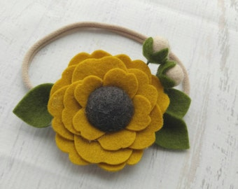 Wool Felt Pom Flower Headband or Hairclip- Mustard - Newborn Baby Photoprop - Infant - Toddler - Adult