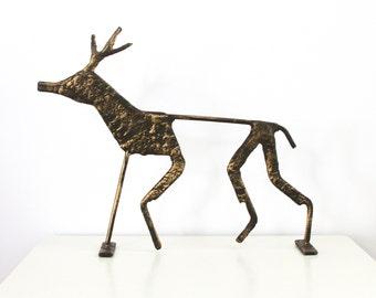 Vintage Cast Iron Reindeer Sculpture - Abstract Metal Reindeer Statue