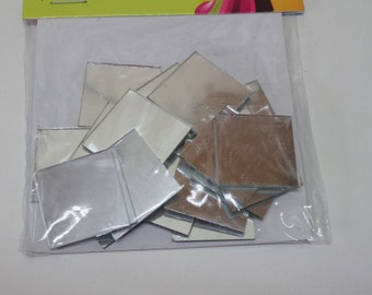 14 pieces square mirrors, small mirrors, mirror glass crafting, 1 inch