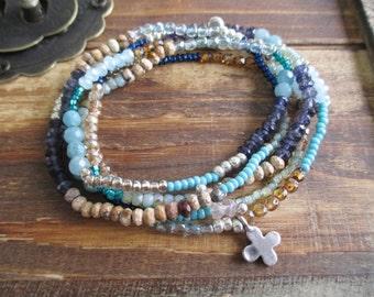 Beachy Blue gemstone 5x wrap bracelet 2x necklace - slashKnots SKINNIES / Atlantic Beach - mixed stone glass silver boho by slash Knots
