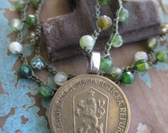 Antique coin rampant lion crochet necklace - Priceless - green semi precious stone crocheted genuine coin eco chic boho by slashKnots