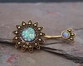 14kt Gold Belly Button Rings Purple Opal Sunburst