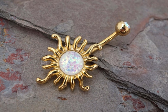 14kt gold belly button rings white opal sun