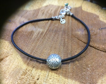 Brown Leather and Hill Tribes bead  Anklet, sterling silver