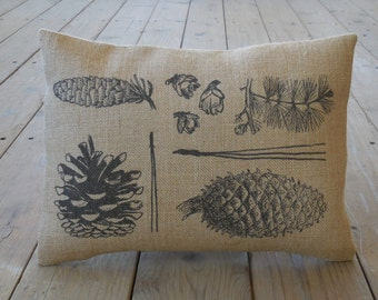 Botanical Pinecone  Burlap Pillow, Cottage Chic, Rustic Lodge, INSERT INCLUDED