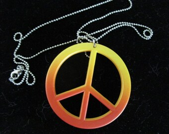 Peace Sign Necklace  Ombre Colored   Vintage Jewelry
