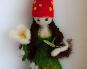 Needle felted Waldorf inspired doll Spring fairy